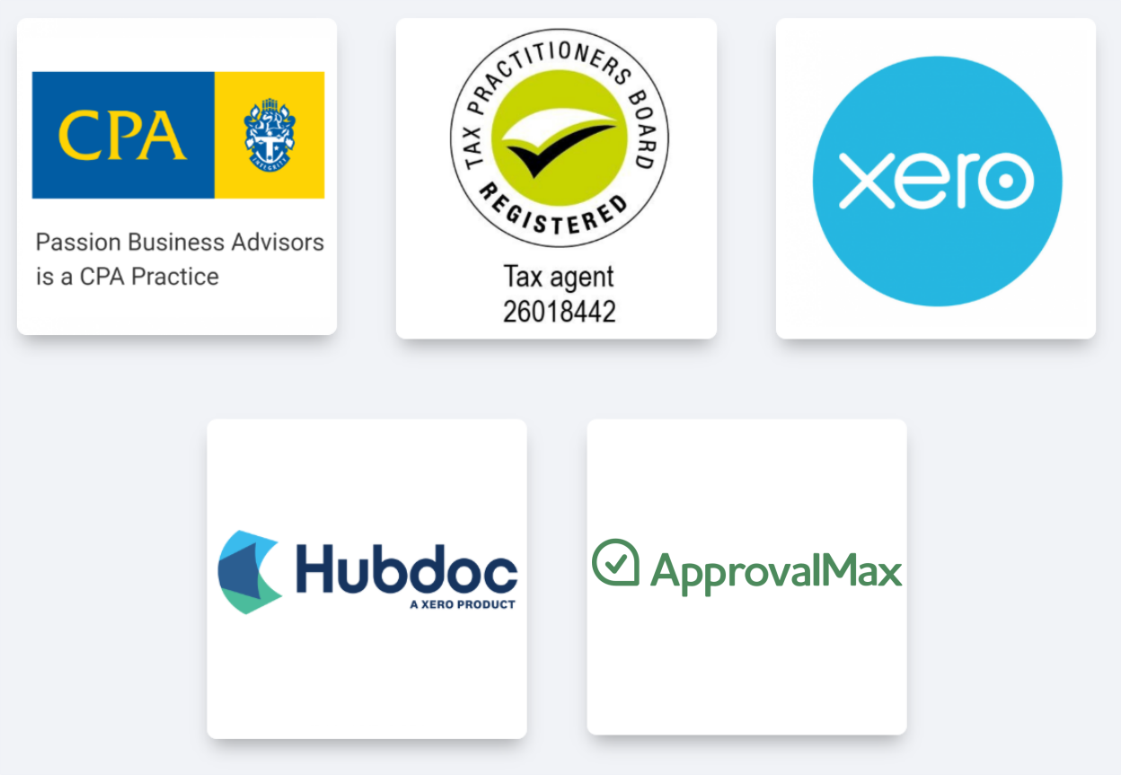 software and membership logos: CPA, Registered Tax Agent, Xero, Hubdoc, ApprovalMax